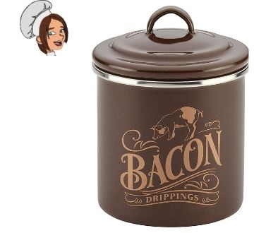 Ayesha Curry Enamel on Steel Bacon Grease Can Bacon Grease Container - 4 Inch, Brown