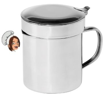 Oggi Stainless Steel Grease Can with Hinged Lid and Removable Strainer - 1 Quart