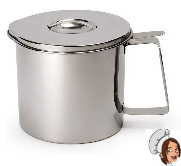 RSVP International Endurance Stainless Steel Fryer's Friend Pot Can, 4 Cup For Cooking Oil, Fats, Olive Oils, Coconut Oil & More Includes Mesh Strainer Grease Storage Dishwasher Safe