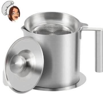 Sumerflos All 304 Stainless Steel Grease Strainer and Container - 1.2 L 1.3 Quart Oil Storage Pot Grease Keeper