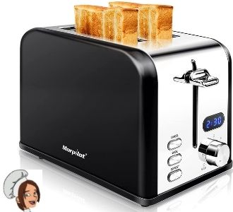 Morpilot, Retro 2 Slice Toaster, Stainless Steel