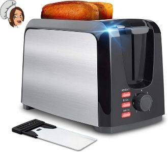 Toaster 2 Slice Best Rated Prime Wide Slot Toasters Stainless Steel Toaster Two Slice Toaster with 7 Bread Shade Setting & Removable Crumb Tray for Bread, Waffles