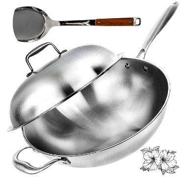 Willow & Everett Wok Pan - Non-Stick Stainless Steel Stir Fry Pans With Domed Lid & Bamboo Spatula - Scratch Proof Cookware For Gas, Induction Or Electric Stove